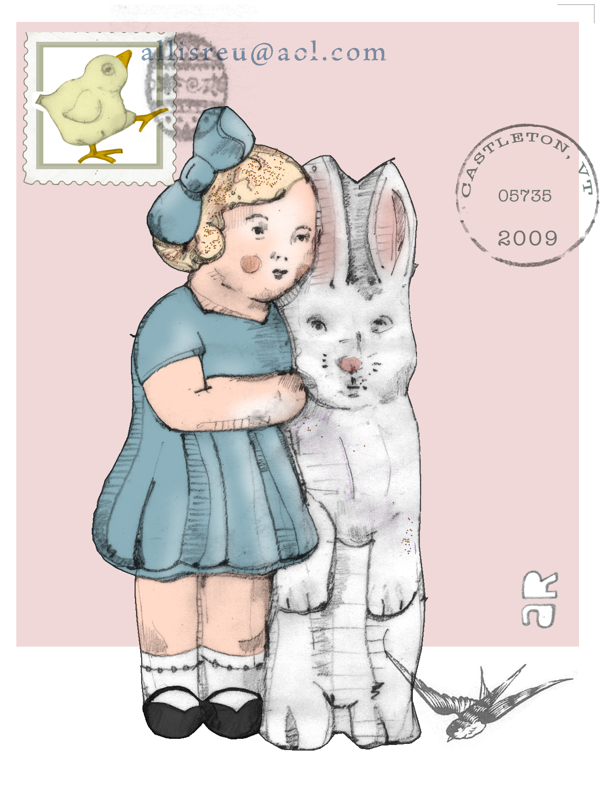 Easter Girl and Rabbit