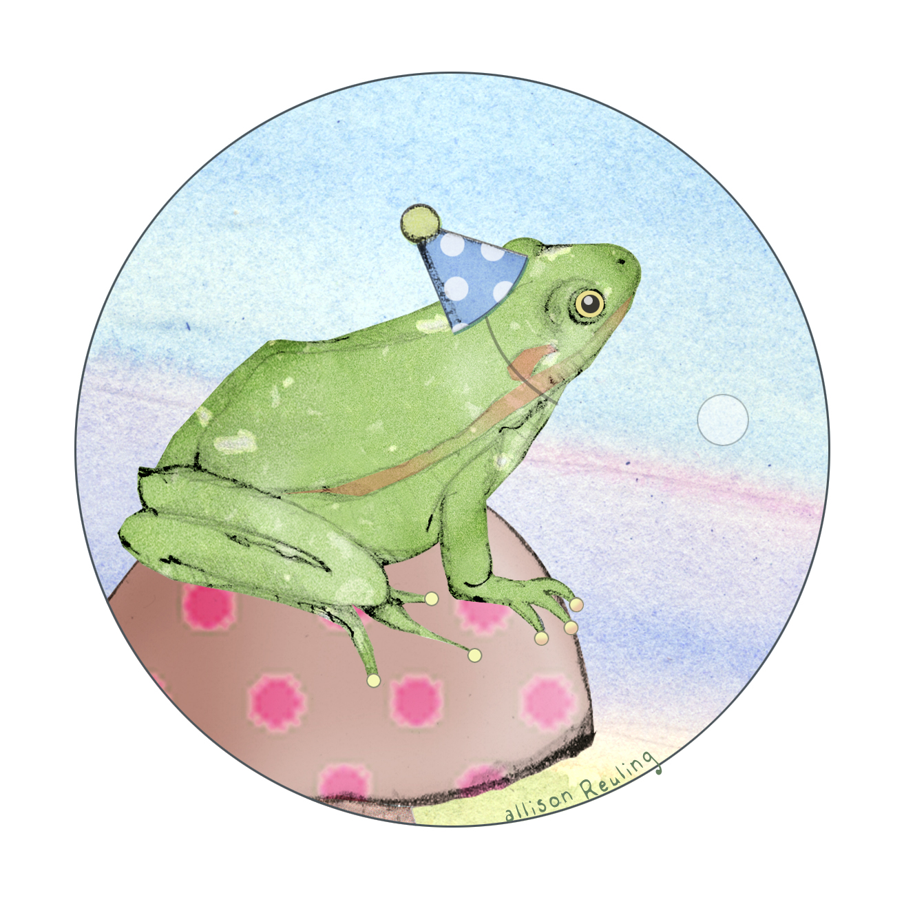 birthday frog in circle